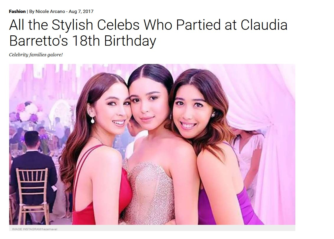 Preview.ph Claudia Barretto 18th birthday Aug 2017